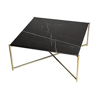 Gillmore Black Marble Square Coffee Table With Brass Cross Base