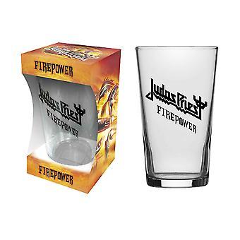 Judas Priest pint glas vuurkracht band logo nieuwe officiële Boxed