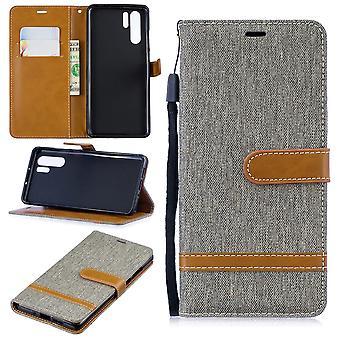 Huawei P30 pro telefon sag beskyttende sag sag Cover kort taske tegnebog grå