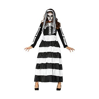 Womens zwart & wit skelet Halloween fancy dress kostuum