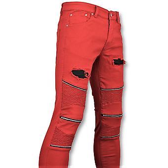 Rode Biker Skinny Jeans -  Broek- 3017-10