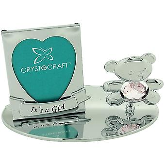 Crystocraft Freestanding Silver Plated 'quot;It'apos;s A Girl'quot; Photo Frame Ornament Made With Swarovski Crystals