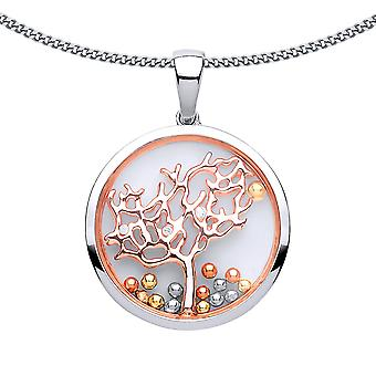 Jewelco London Ladies Rose Gold-Plated Silver White Round CZ Floating Bead Tree of Life Pendant Necklace 18 inch