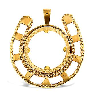 Jewelco London Solid 9ct Yellow Gold Lucky Horse Shoe Frame Full Sovereign Coin Mount Pendant