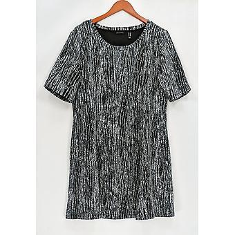 H par Halston Petite Dress LP Knit Jacquard Fit et Flare Black A294982