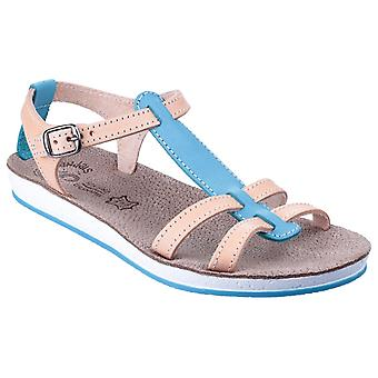 Fantasy Womens Lemnos Buckle T Bar Summer Sandal Blue/Natural