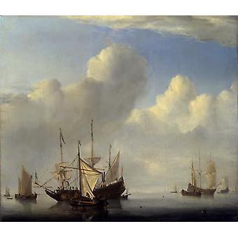 A Dutch Ship Coming to Anchor and, Willem van de Velde, 50x43cm