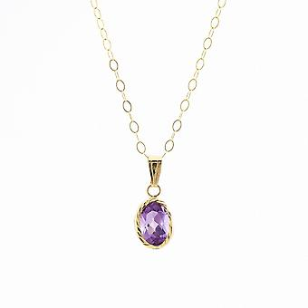 Eternity 9ct Gold Diamond Cut Oval Amethyst Pendant And 16'' Trace Chain