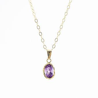 Evigheden 9ct guld diamantskåret oval Amethyst vedhæng og 16 ' ' spor kæde