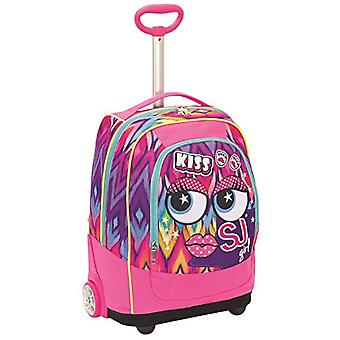 Big Trolley Faces from SJ - 33 Lt - Pink - System 2in1 Backpack with Shoulder Lifting for Trolley Use - School & Travel