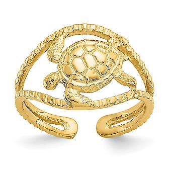 14k Yellow Gold Polished Sparkle Cut Turtle Toe Ring Jewelry Gifts for Women - 1.6 Grams