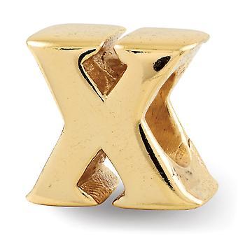 Prata esterlina Polida 14k Ouro Plated Reflexãos Nome Personalizado Monograma Inicial X Bead Charm Pingente