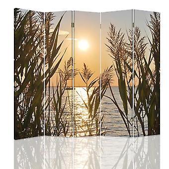 Divisor de quarto, 5 painéis, lona, o sol do ajuste sobre o lago