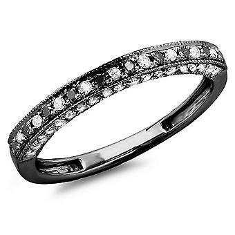 Dazzlingrock collectie 0,40 karaat (CTW) zwart rhodium plated 10K zwart & witte diamant trouwring, witgoud