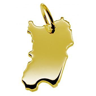 قلادة قلادة سلسلة الخريطة في الذهب الأصفر الذهبي في شكل سردينيا