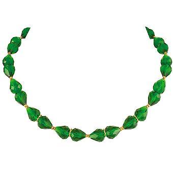Ewige Sammlung Raffinesse Wald grün Kristall Gold Ton Halskette