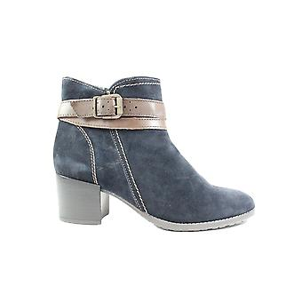 Tamaris 25059 Navy Suede Leather Womens Heeled Ankle Boots