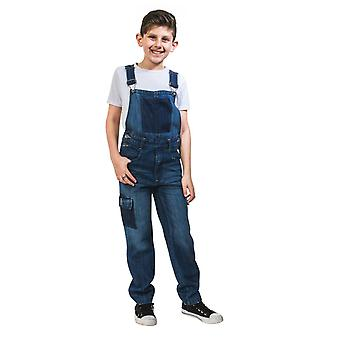 Kids distressed denim dungarees
