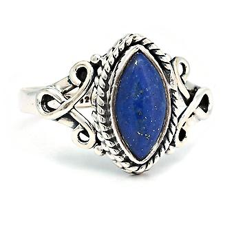 Ring Silver 925 Sterling Silver Lapis Lazuli Blue Stone (Nr: IRM 183)
