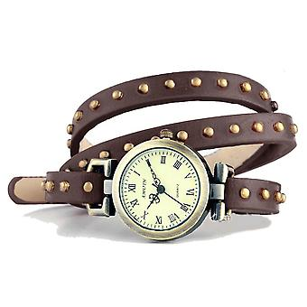 BROWN WOMEN'S WATCH WITH LONG RIVETED LEATHER STRAP