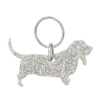 Holographic Silver Basset Hound Style 2 Glitter Acrylic Keyring