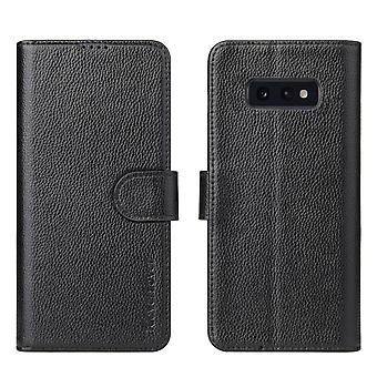 For Samsung Galaxy S10e Wallet Case,iCoverLover Real Cow Leather Cover,Black