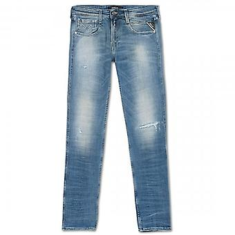 Replay Anbass Slim Fit Aged 10 Years Jeans Blue M914N 141 460 010