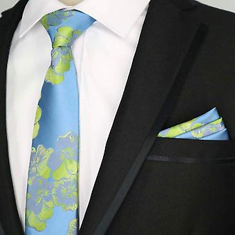 Baby blue & green wedding floral tie & pocket square