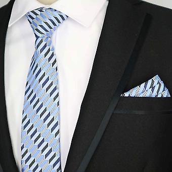 Light blue & grey geo striped tie & pocket square set