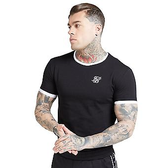 Sik Seide Ss-15762 Inset straight Saum Ringer Gym T-shirt - schwarz