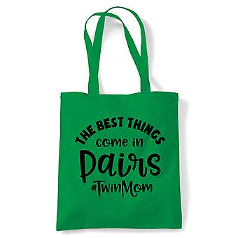Best Things Come In Paires Twin Mom, Tote - Reusable Shopping Canvas Bag Cadeau