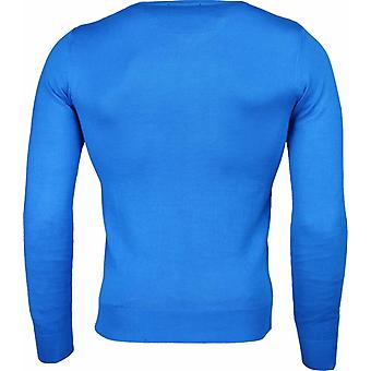 Casual sweater-Exclusive blank V-neck-Blue