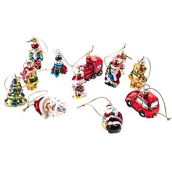 Gisela Graham Assorted Retro Glass Christmas Baubles