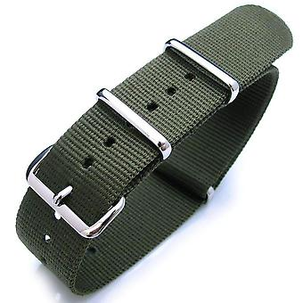 Strapcode n.a.t.o watch strap 18mm or 22mm heat sealed heavy nylon polished buckle - forest green