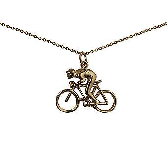9 قيراط الذهب سلسلة دراجات 18x25mm والدراج قلادة مع كابل 20 بوصة