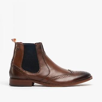 Base London gaffer menns Leather aksent Chelsea Boots vasket brun