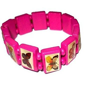 The Olivia Collection Small Fuchsia Wooden Butterfly Design Icons Bracelet