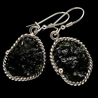 """Czech Moldavite Earrings 1 7/8"""" (925 Sterling Silver)  - Handmade Boho Vintage Jewelry EARR400235"""