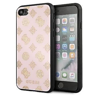 GUESS Double Layer Glitter Backcase Hoesje iPhone 8 / 7 / SE (2020) - Roze