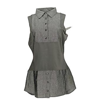 Kathleen Kirkwood Women's Top Dictrac-Ease Chambray Shirttail Gray A311148