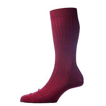 Pantherella Laburnum Rib Merino Wool Socks - Wine