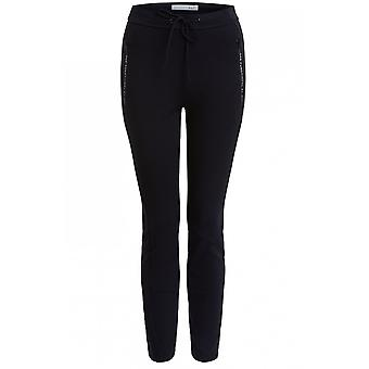 Oui Black Fine Ribbed Trousers