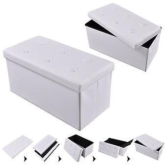 Folding Storage Ottoman 2-seater Faux Leather Bench Toy Box Foot Stools White