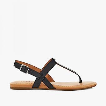 UGG Dinuba Ladies Leather Toe Post Sandálias Pretas
