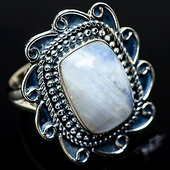 Blue Lace Agate Ring Size 8 (925 Sterling Silver)  - Handmade Boho Vintage Jewelry RING11943
