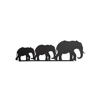 Decorazione Da Parete Elephant Color Nero in Acciaio 50x0,15x15 cm