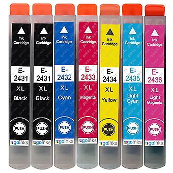 1 Juego de 6 + cartuchos de tinta negra adicionales para reemplazar Epson T2438+T2431 (Serie 24XL) Compatible/no OEM de tintas Go (7 tintas)