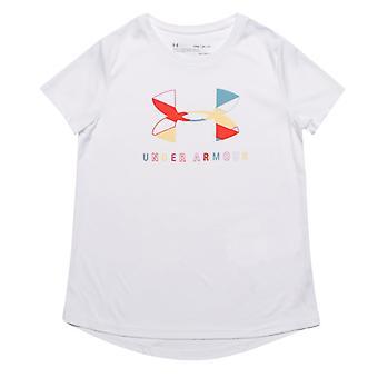Girl's Under Armour Junior UA Tech Big Logo T-Shirt in White