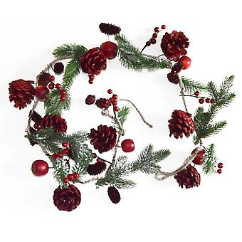 1.2m Red Pine Cone & Berry Artificial Christmas Floristry Garland