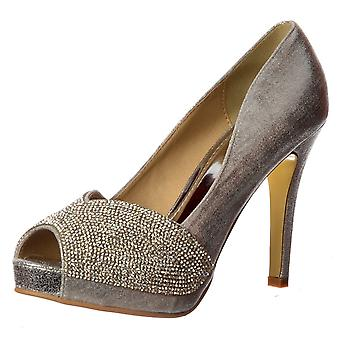Onlineshoe Diamante Encrusted Peep Toe Mid Heel Party Shoe